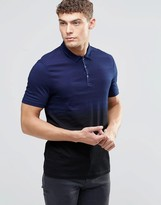 Asos Jersey Polo With Indigo Dip Dye