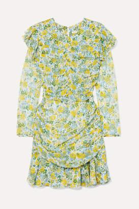Veronica Beard Ruched Floral-print Silk-chiffon Mini Dress - Yellow