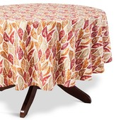 "Threshold Leaf Tablecloth Tan - (70"" Round"