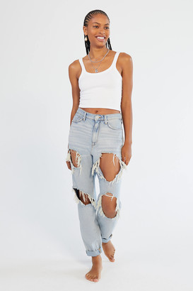 BDG High-Waisted Mom Jean - Destroyed Light Wash