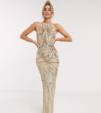 Asos Design DESIGN embellished high neck maxi dress with cut out waist detail-Gold