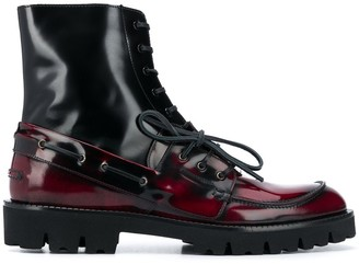 Maison Margiela Lace-Up Leather Ankle Boots