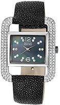 Badgley Mischka Women's BA1083BMBK Swarovski Crystal Accented Silver-Tone Black Stingray Strap Watch
