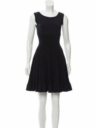 Alaia Knit Fit and Flare Dress Black