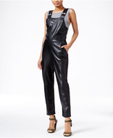 Rachel Roy Faux-Leather Overalls, Only at Macy's