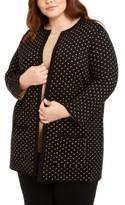 Anne Klein Plus Size Metallic Polka-Dot Cardigan Sweater