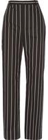 Balenciaga Striped Cotton-poplin Straight-leg Pants - Black