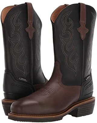 Lucchese 12 Welted Western Work Boot - Steel Toe (Mocha/Black) Men's Boots