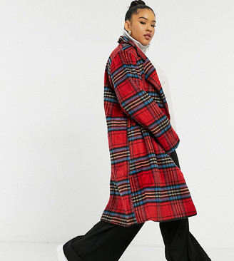 Wednesday's Girl Curve longline tailored coat in red check