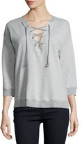 Joie Lace-Up 3/4-Sleeve Sweatshirt, Heather Grey