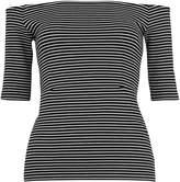Whistles Short Sleeve Stripe Bardot Top