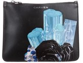 Carven Printed Leather Zip Pouch