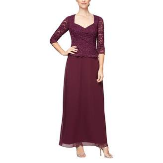 Alex Evenings Women's Long Mock Dress Sweetheart Neckline (Petite Regular Sizes)