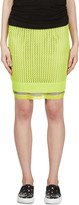 Sacai Luck Chartreuse Open Knit Layered Skirt
