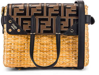 Fendi Mini Flip Crossbody Bag in Black & Natural | FWRD