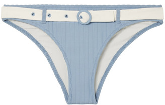 Solid & Striped The Rachel Belted Ribbed Stretch-knit Low-rise Bikini Briefs