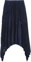Emilio Pucci Pleated laser-cut matte-satin skirt