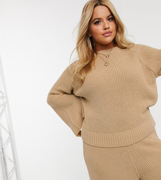 Asos DESIGN Curve lounge premium knitted sweater with splits