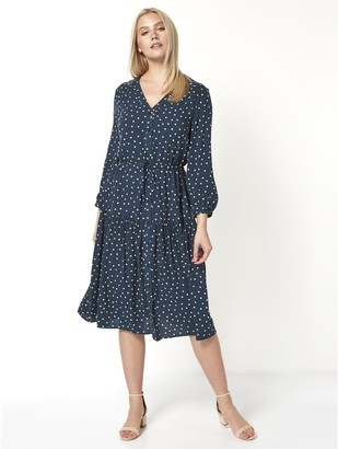 M&Co Roman Originals polka dot print tiered midi dress