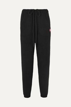 The Elder Statesman Embroidered Cashmere Track Pants - Black