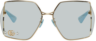 Gucci Gold and Blue Oval Sunglasses