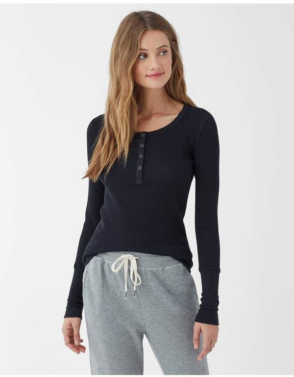 Thermal Henley Long Sleeve Top