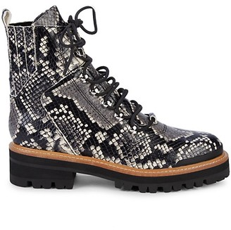 Marc Fisher Izzie 2 Embossed-Snakeskin Leather Combat Boots