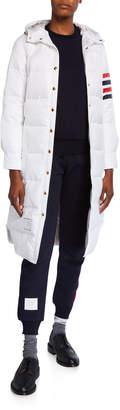 Thom Browne 4-Bar Sleeve Hooded Puffer Coat