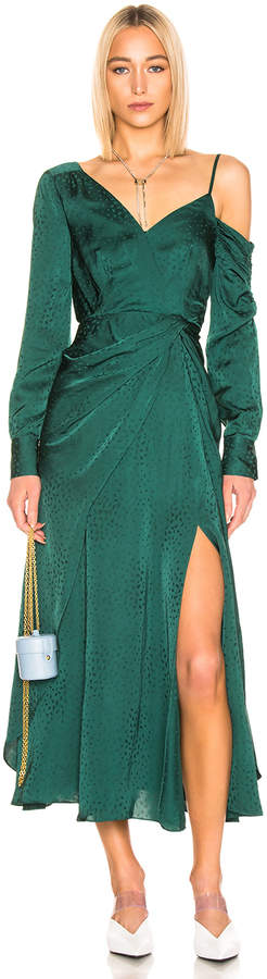 Self-Portrait Self Portrait Asymmetric Jacquard Dress in Green | FWRD