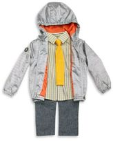 Frenchie Mini Couture Size 18M 4-Piece Rain Jacket, Shirt, Pant, and Tie Set in Grey