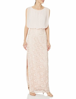 Aidan Mattox Aidan Women's Long Blouson Gown with Lace Skirt