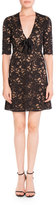 Saint Laurent Lace V-Neck Half-Sleeve Dress w/ Bow, Sand/Black