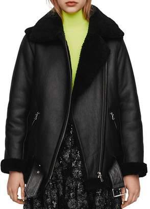 Maje Gombery Leather & Real Sheep Shearling Coat