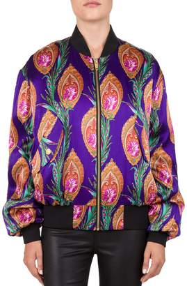 The Kooples Hindu Floral-Print Satin Bomber Jacket