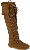 Minnetonka Front Lace Brown Suede