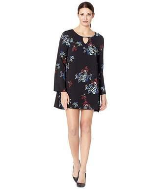 American Rose Penny Long Sleeve Keyhole Floral Dress