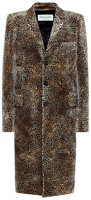Saint Laurent Leopard-print velvet coat