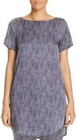 Eileen Fisher Petites Printed Silk Boat Neck Tunic
