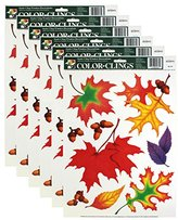 Paper Magic Color-Clings 9-Count Static Cling Window Decorations, Autumn Leaves, 6-Pack