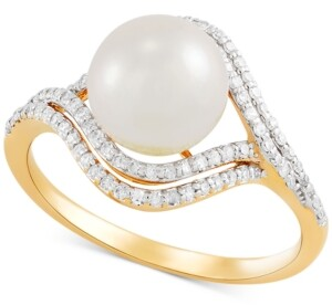 Honora Cultured Freshwater Pearl (8mm) & Diamond (1/4 ct. t.w.) Ring in 14k Gold