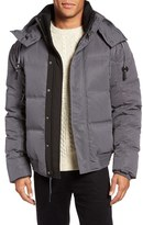 Andrew Marc 'Summit' Embossed Down Jacket with Detachable Hood