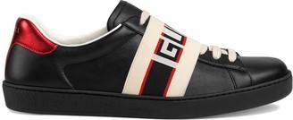 Gucci black, red and cream logo stripe leather sneaker
