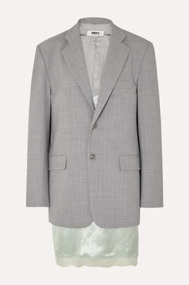 MM6 MAISON MARGIELA Layered Lace-trimmed Satin And Woven Blazer - Gray