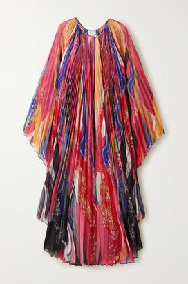 Camilla Pleated Printed Chiffon Kaftan - Pink