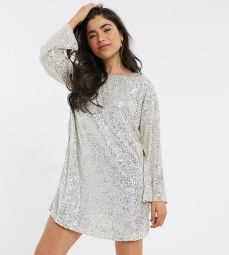 ASOS DESIGN Petite sequin long sleeved mini dress