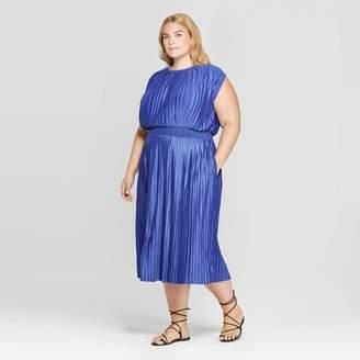 Prologue Women's Plus Size Short Sleeve Crewneck Pleated Cinched Waist Midi Dress - Prologue
