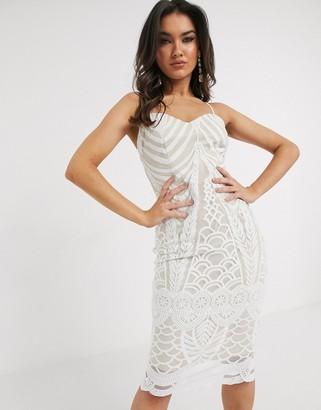Girl In Mind lace midi dress in white