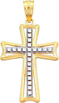 JCPenney FINE JEWELRY 14K Two-Tone Gold Textured Cross Charm