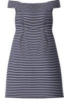 Dorothy Perkins Womens DP Curve Plus Size Navy Striped Ribbed Bardot Fit And Flare Dress- Blue