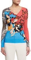 Etro Long-Sleeve Mixed-Print Sweater, Coral/Blue